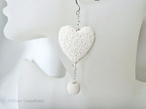 Large White Lava Stone Heart Earrings With Swarovski Crystals & Sterling Silver